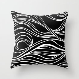 Abstract Swirling Waves / Black and White Throw Pillow