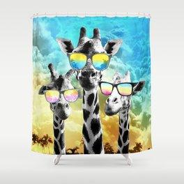 Crazy Cool Giraffe Shower Curtain