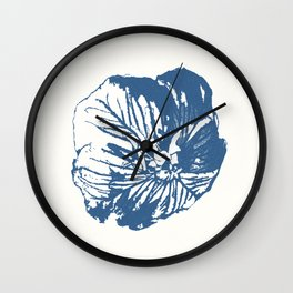 Mexican Primrose Minimal-Nature Blue Wall Clock