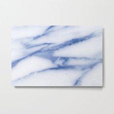Real Marble - Blue Skies Marble Metal Print