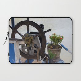 Mekong River Ship Detail ship's wheel potted plant Laptop Sleeve