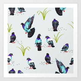 Pigeons #illustration #pattern Art Print