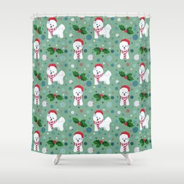 Bichon Frise dog Christmas pattern Shower Curtain
