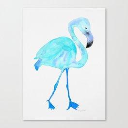 Aqua Watercolor Flamingo Canvas Print