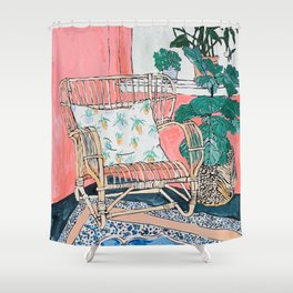 Cane Chair in Pink Interior Shower Curtain
