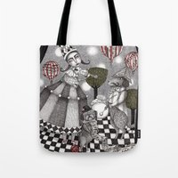 concert Tote Bags featuring Alice's After Tea Concert by Judith Clay