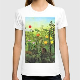 Exotic Jungle Landscape with Lion and Lioness by Henri Rousseau T-shirt