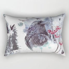 Ravens Abstract Watercolor Splash Winter Forest Scene Rectangular Pillow