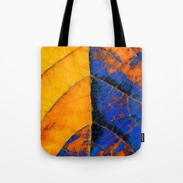 closeup leaf texture geometric triangle abstract pattern in blue orange yellow Tote Bag
