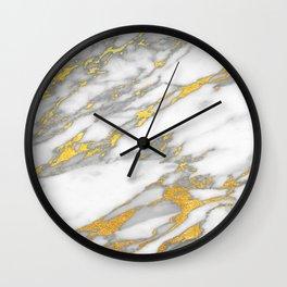 Carrara marble with gold Wall Clock