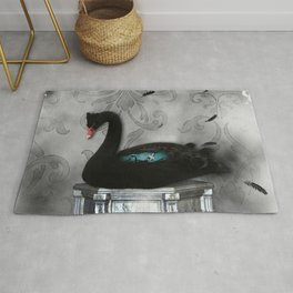 Wonderful black swan with dark mermaid Rug