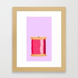 Pink Spool Of Thread Framed Art Print