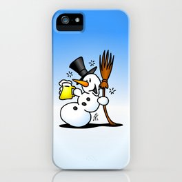 Snowman drinking a beer iPhone Case