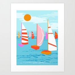 Quepasa - memphis throwback retro minimal modern neon boating yacht club sailing summer sport Art Print