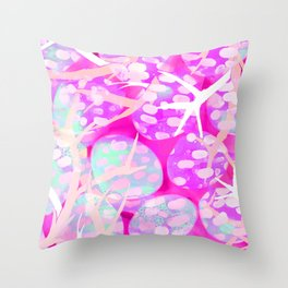 Pink Staghorn Throw Pillow
