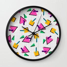 90's Geometric Print Wall Clock