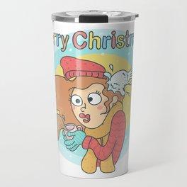 Merry Christmas Snowball Travel Mug