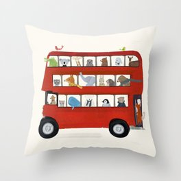 the big little red bus Throw Pillow