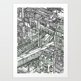 The Town of Train 1 Art Print