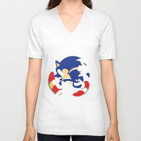 sonic V-neck T-shirts featuring Sonic by JHTY