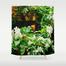 Flowers At Dusk Lit By Lantern Light Shower Curtain