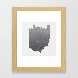 Ohio Skylines: Gray Variant Framed Art Print
