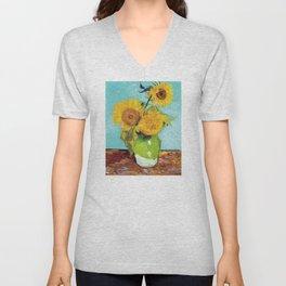 Vincent van Gogh - Three Sunflowers Unisex V-Neck