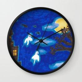 Halloween Moonlit Night Scene - The Creepy Fairytale Halloween Night Wall Clock