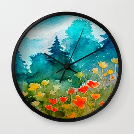 Watercolor Flower Spring Landscape Wall Clock