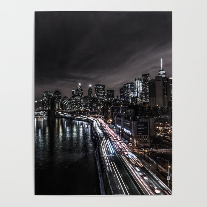 Downtown Manhattan Fdr Drive Long Exposure Poster By