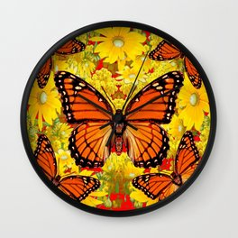 VICEROY BUTTERFLIES & YELLOW FLOWERS RED ART Wall Clock