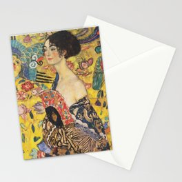 Gustav Klimt Lady With Fan  Art Nouveau Painting Stationery Cards