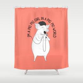 Pig singing Emilia   Animal Karaoke   Illustration   Red Shower Curtain