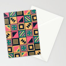 Colorful Geometric Floor Tile Pattern Stationery Cards