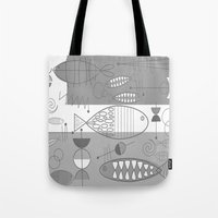 mid century modern Tote Bags featuring Mid-Century Modern Fish by Kippygirl