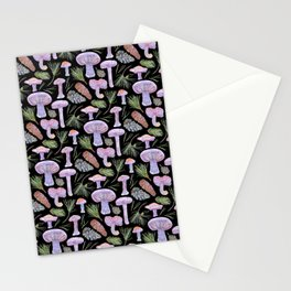 Wood Blewits and Pine Dark Pattern Stationery Cards