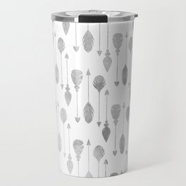 Simple white gray watercolor hand painted bohemian arrows feathers Travel Mug