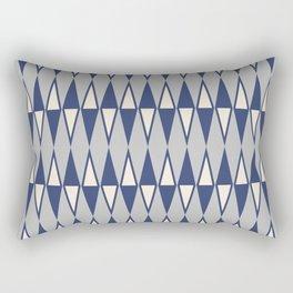 Mid Century Modern Diamond Pattern Blue and Gray 232 Rectangular Pillow