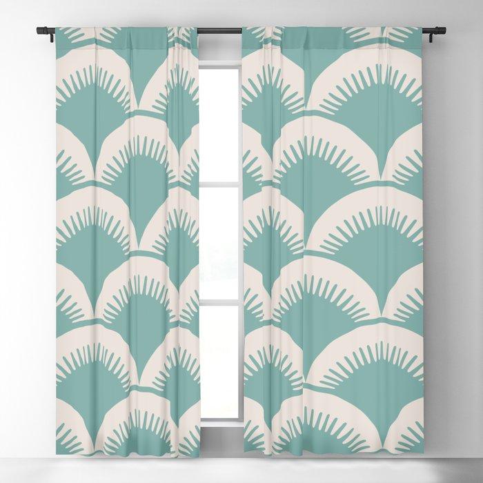 Japanese Fan Pattern Foam Green and Beige Blackout Curtain