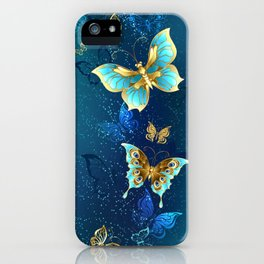 Golden Butterflies on a Blue Background iPhone Case