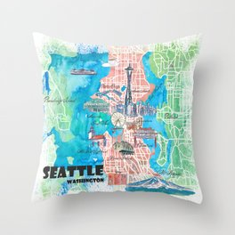 Seattle Washington Illustrated Map with Main Roads Landmarks and Highlights Throw Pillow