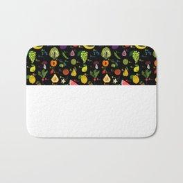English fruit and vegetables alphabet on dark Bath Mat