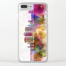 Tucson V2 skyline in watercolor background Clear iPhone Case