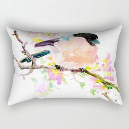 cute bird art, Bullfinch and Spring Rectangular Pillow