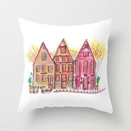 Coloured houses II Throw Pillow