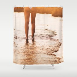 Low Section Of Young Woman in a white bikini walking Toward Sea on Beach at the sunset. Concept Summ Shower Curtain