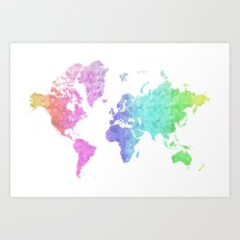 "Rainbow world map in watercolor style ""Jude"" Art Print"