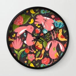 Bunnies in the wild Wall Clock