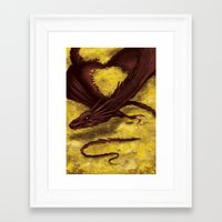 smaug Framed Art Prints featuring Smaug by toibi