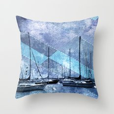 Sailing Lake Michigan Sailboats Throw Pillow